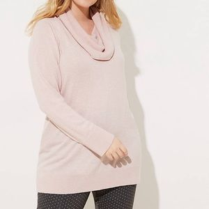 Soft Pink Cowl Neck Tunic Sweater